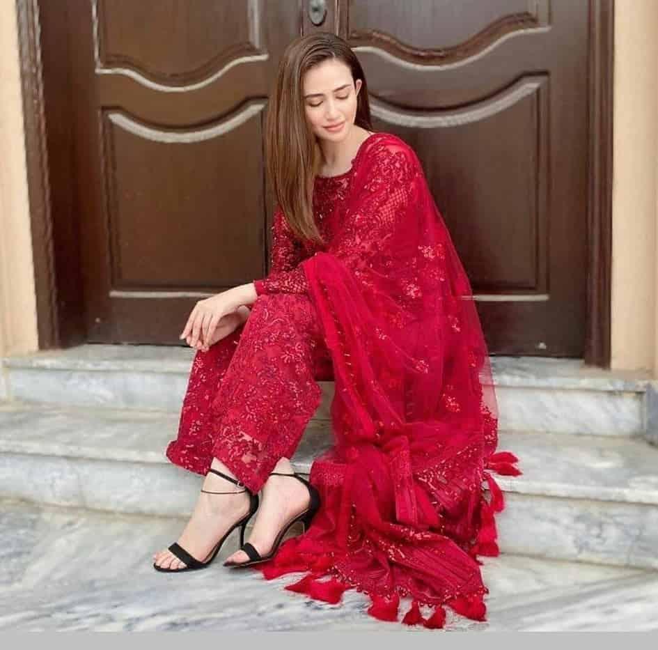 Sana Javed Red Dress