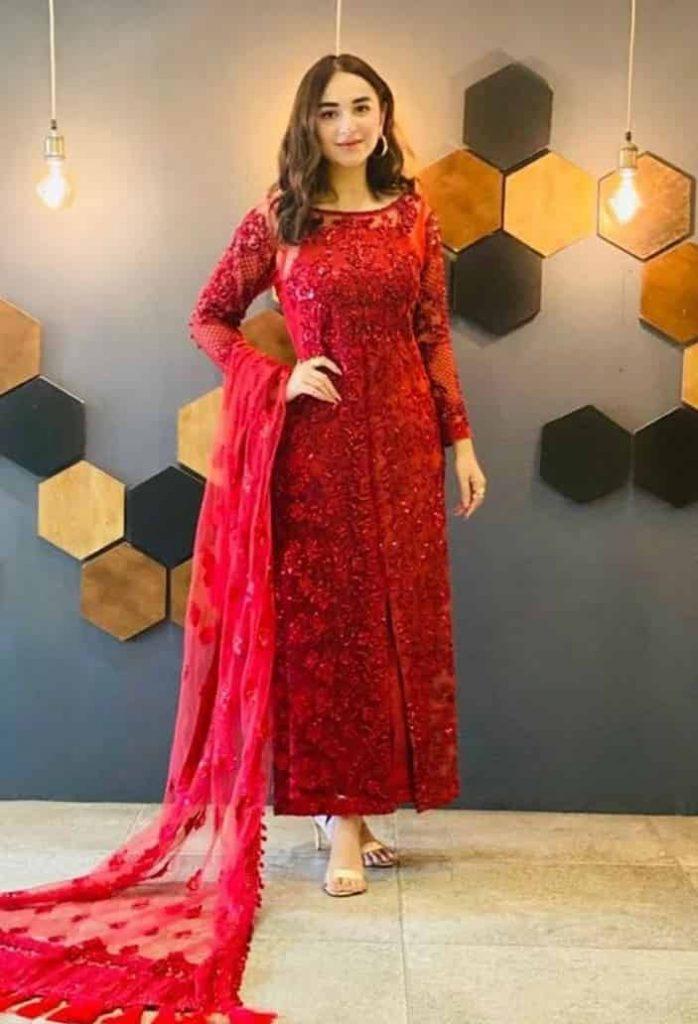 Yumna Zaidi Red Dress