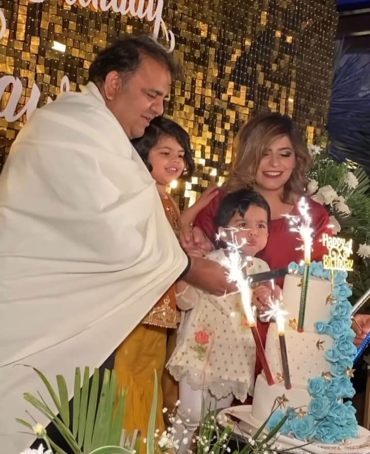 Beautiful Pictures of Fawad Chaudhry Celebrating His Birthday With His Wife And Daughter