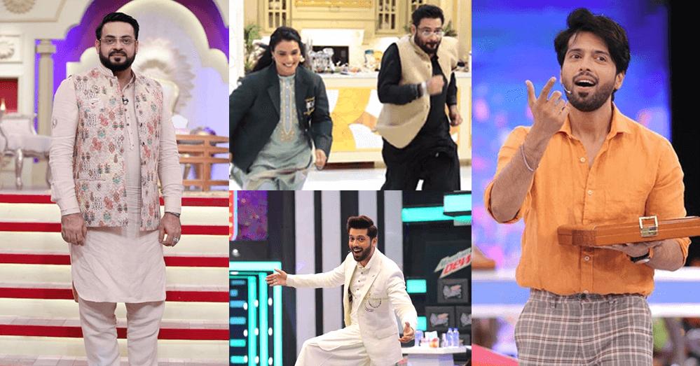 Aamir Liaquat Making Fun of Fahad Mustafa's Hosting In Public