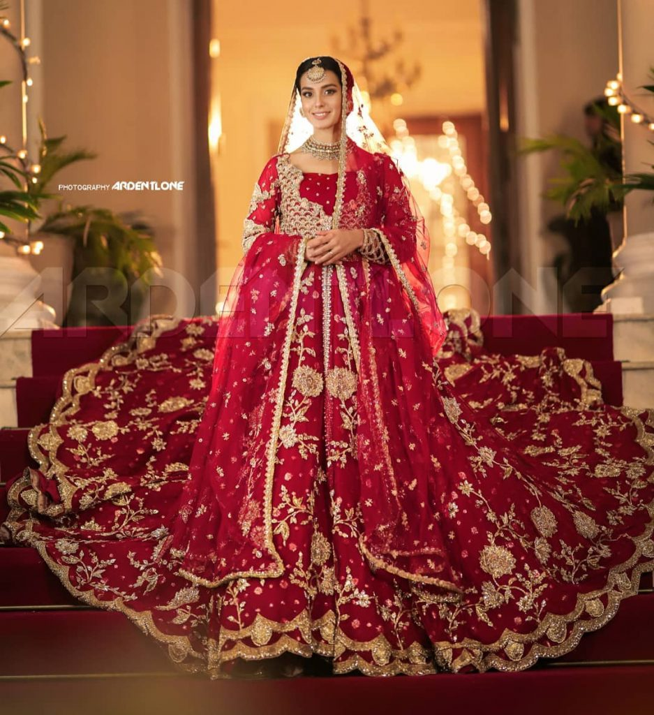 Iqra Aziz New Bridal Look In Red Collection