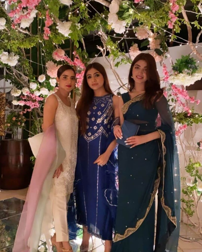 Saboor Ali And Minal Khan At Engagement Event Wearing Lovely Dress