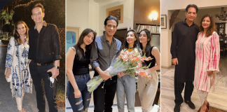 Photo Saleem Sheikh snapped with wife Nousheen and daughters