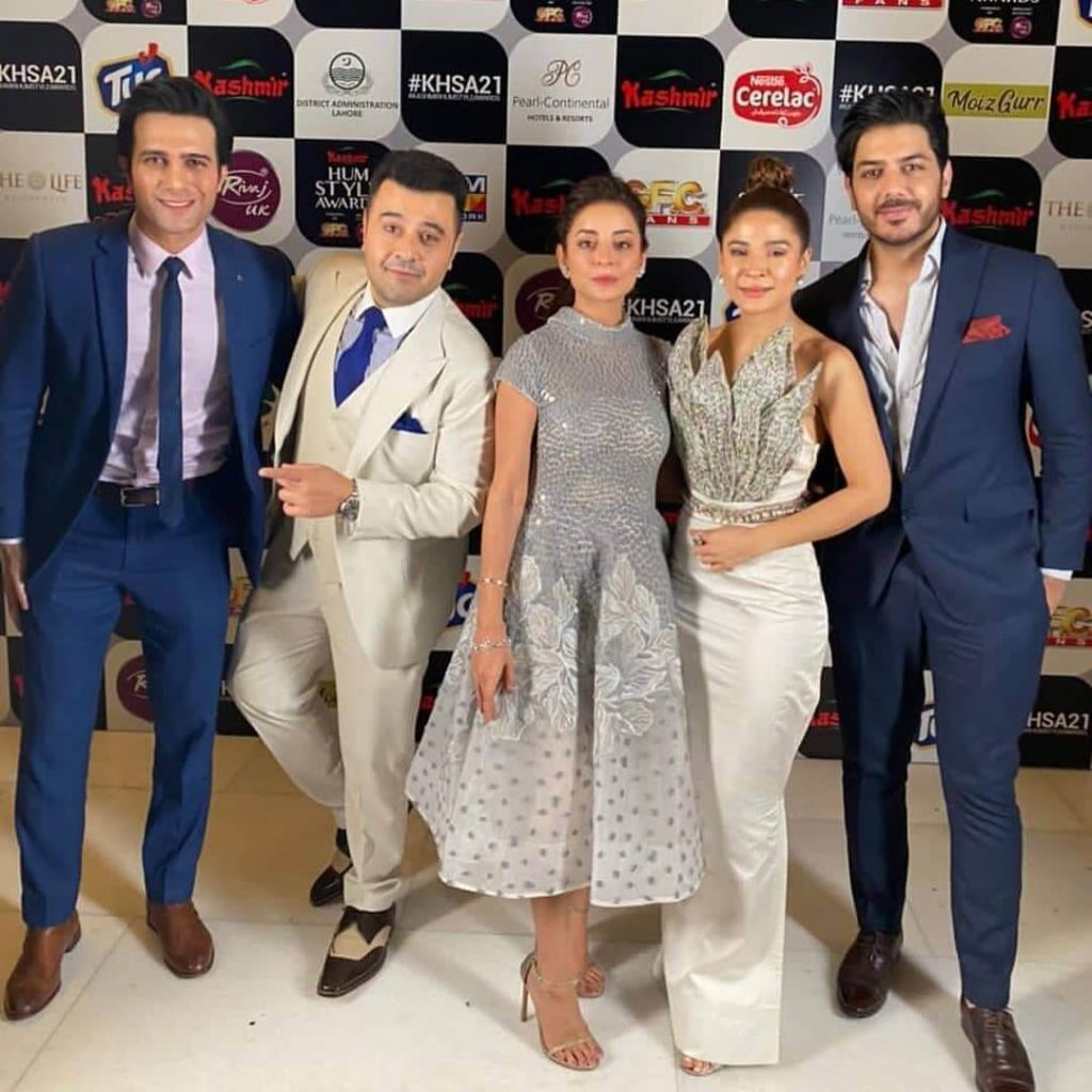 Ahmed Ali Butt & His Wife Fatima Khan Arrive For Hum Style Awards 2021