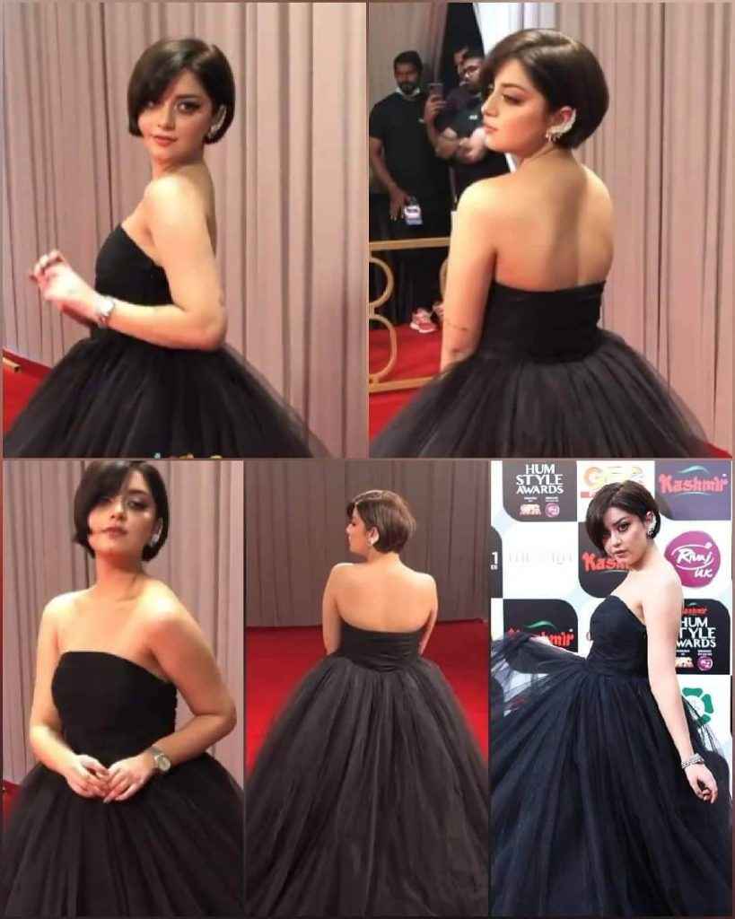 Beautiful Pictures of Alizeh Shah Wearing Black Gown in HUM Style Awards 2021