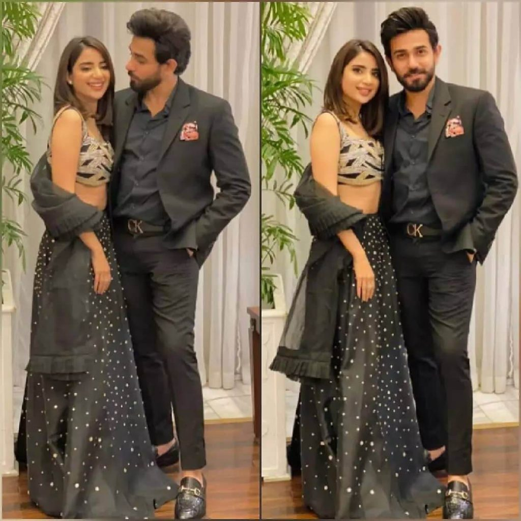Beautiful Clicks of Saboor Aly With Her Husband Ali Ansari At Friends Wedding