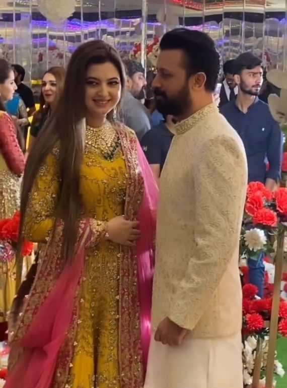 Atif Aslam With His Wife At Recent Family Wedding