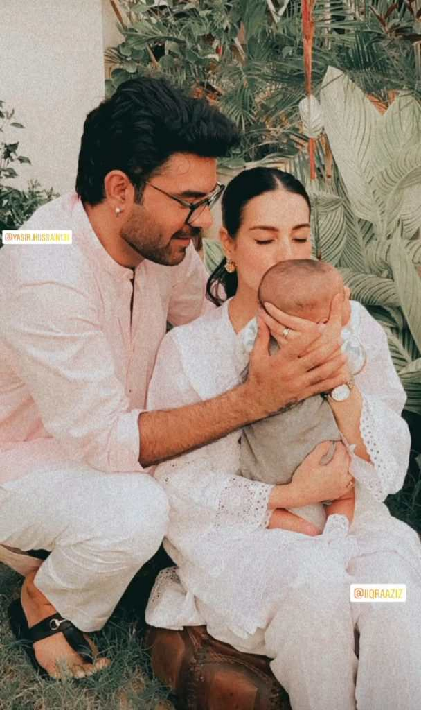 Aqiqah Pictures Of Iqra Aziz And Yasir Hussain Son Kabeer Hussain