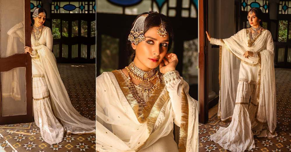 Beautiful Pictures of Ayeza Khan Wearing White Gharara