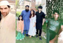 Misbah Ul Haq poses with wife Uzma Khan, kids Faham and Noriza