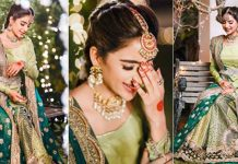 Saboor Ali Steals Hearts In a Festive Green Bridal [Pictures]