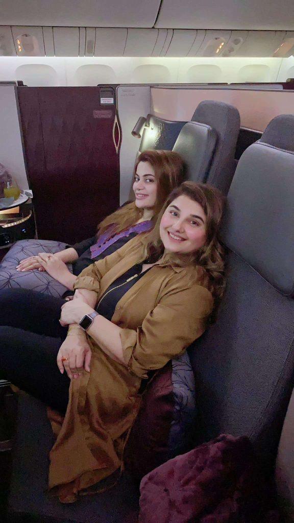 Javeria Saud having fun on the plane with her friend